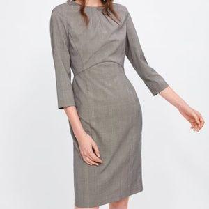Zara Plaid Sheath Dress Office Brown 2157/036